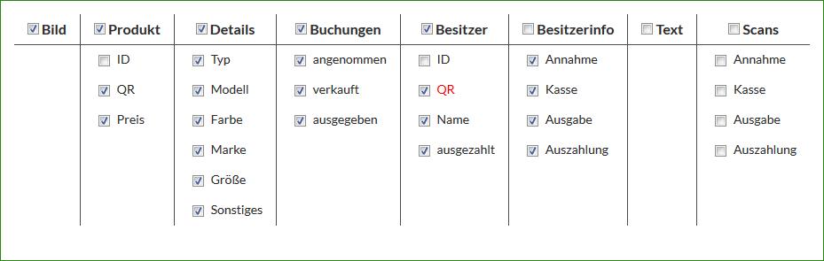 Liste - Spalten